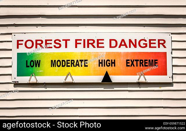 Forest Fire Danger Warning Sign At A Fire Station