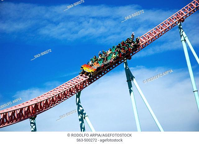 Riders on rollercoaster ride, Knott's Berry Farm, California