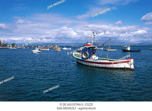 Fishing boats near the harbor, Sant'Antioco Island, Sardinia, Italy