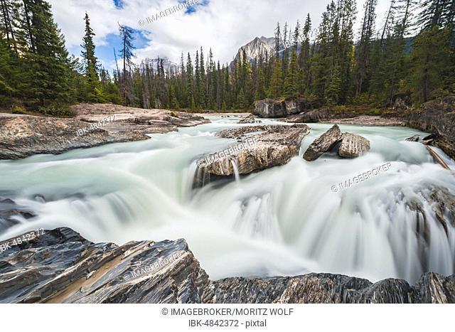 Waterfall, Long Exposure, Natural Bridge Lower Falls, Rocky Mountains, Yoho National Park, Alberta Province, Canada, North America