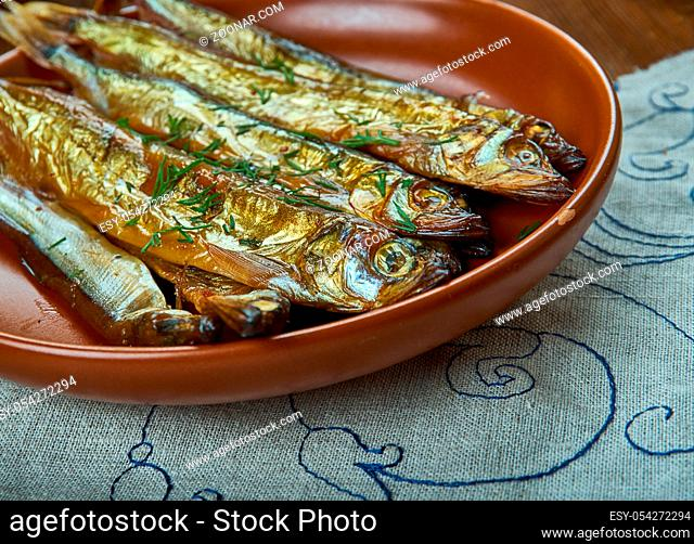 Bockling, hot-smoked herring similar to the kipper and the bloater, Swedish homemade cuisine, Traditional assorted dishes, Top view