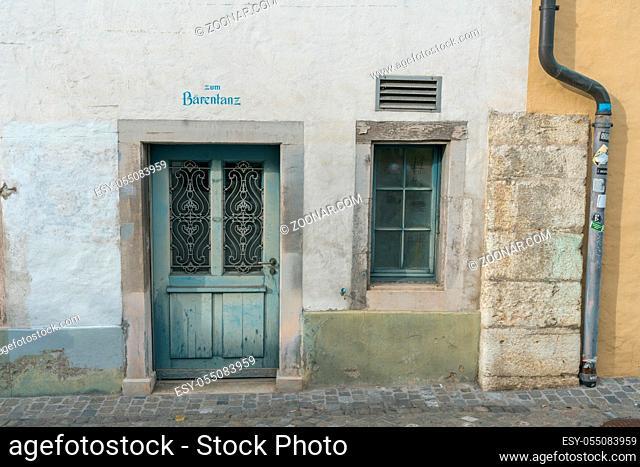Schaffhausen, SH / Switzerland - April 22, 2019: historic old house front in the old town of Schaffhausen
