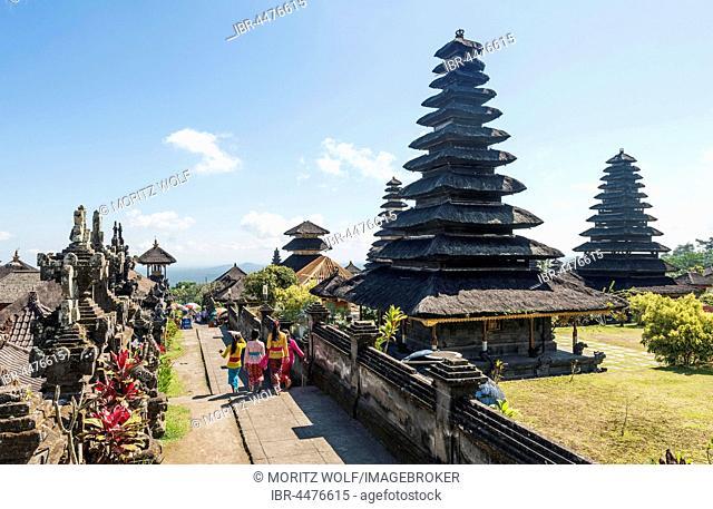Young Balinese women, mother temple, Besakih Temple pagoda, Pura Agung Besakih Penetaran, Bali-Hinduism, Banjar Besakih, Bali, Indonesia