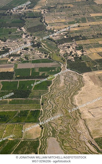 Aerial view of farms and small villages in southern Afghanistan