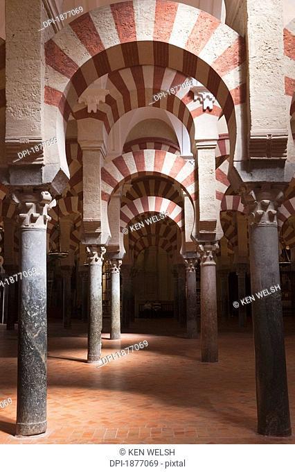 cordoba, andalusia, spain, interior of the great mosque, la mesquita