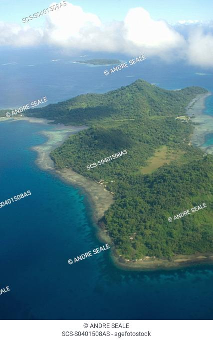 Aerial view of Chuuk island, Federated States of Micronesia, Pacific