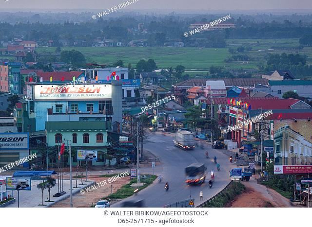 Vietnam, DMZ Area, Dong Ha, elevated city view, dusk