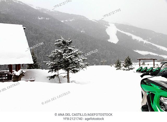 White landscape, Famous ski center Soldeu city snow covered, Andorra,Pyrenees mountains