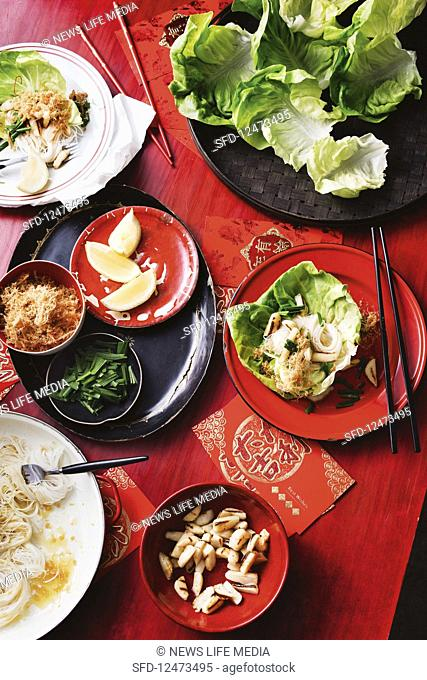 Scallop and Vermicelli san choy bow (China)