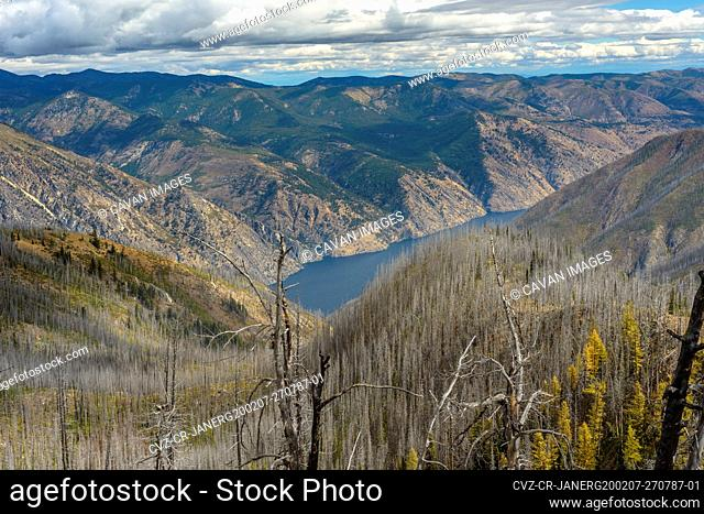 Lake Chelan Surrounded By Burned Trees From Wildfire