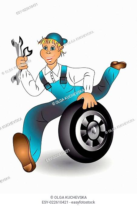 mechanic with wheel