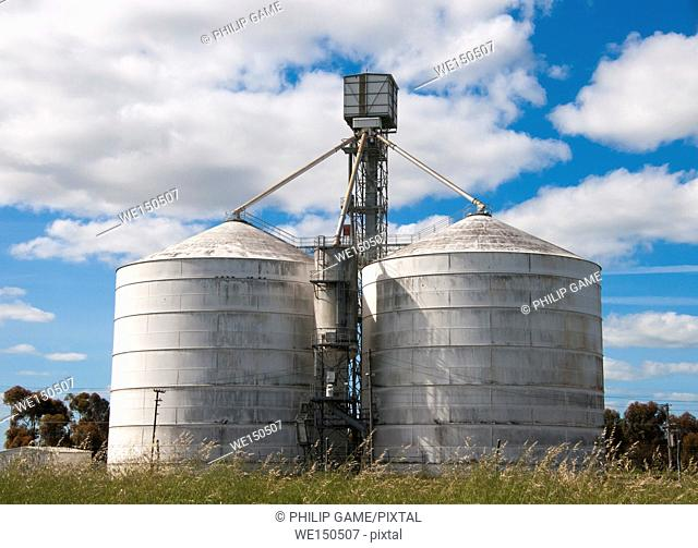 Grain silos at Nhill in the Wimmera region of western Victoria, Australia
