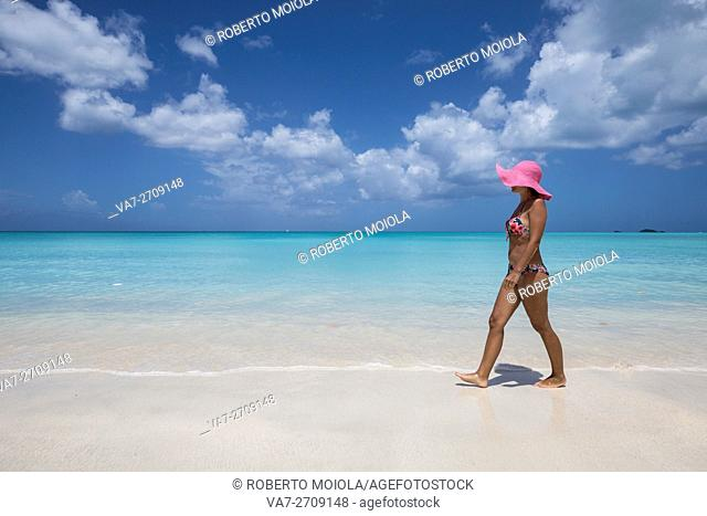 A walk on the beach facing the turquoise water of the Caribbean sea The Nest Antigua and Barbuda Leeward Islands West Indies