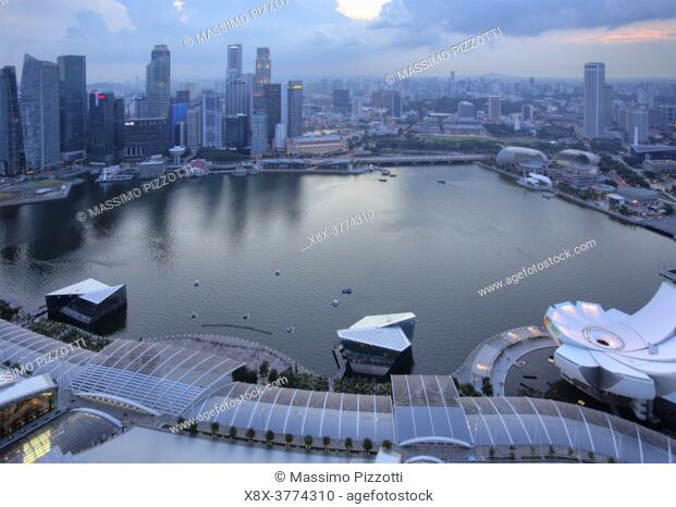 View of the the bay from the Marina Bay Sand Hotel, Singapore