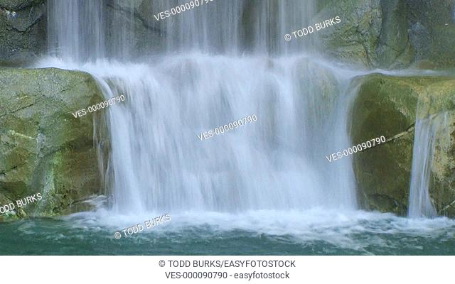 Close-up of waterfall with slow shutter speed