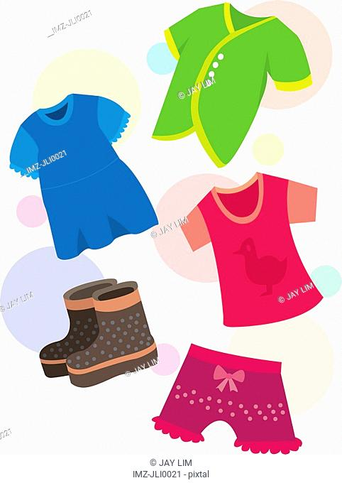 A colorful assortment of childrens clothing