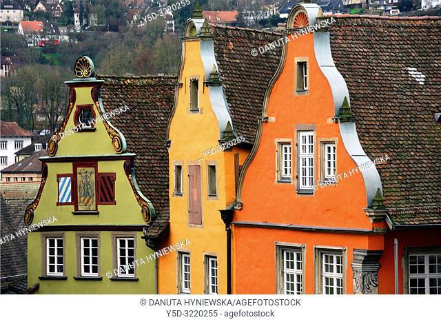 Traditional architecture at historic Marktplatz and view for surroundings, Schwäbisch Hall, Schwäbisch Hall, Baden-Württemberg, Germany, Europe