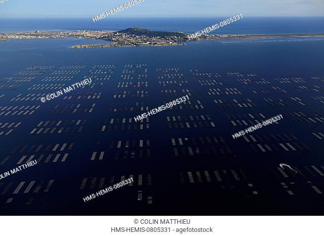 France, Herault, Bouzigues, oyster beds of the Etang de Thau and Sete in the background (aerial view)
