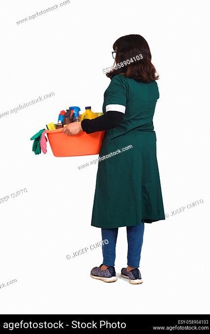 rear view of full portrait latin woman with a bucket with cleaning products on white backgrounds