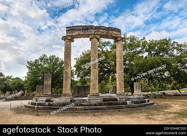 Archaeological Site of Ancient Olympia. The Philippeion in the Altis of Olympia was an Ionic circular memorial in limestone and marble
