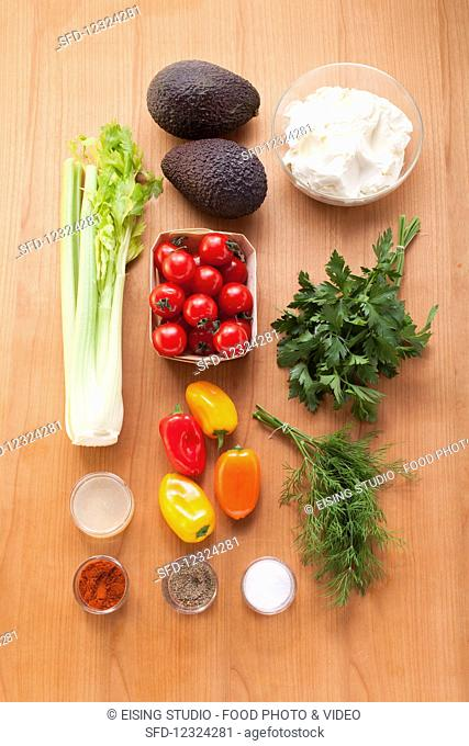 Ingredients for mini vegetable bites filled with cheese dip