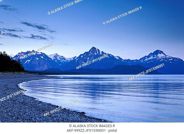 View of Mount Wright seen from Goose Cove at dusk, Glacier Bay National Park & Preserve, Southeast Alaska, Summer