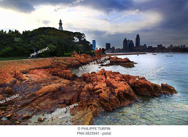 Asia, China, Shandong Province, Qingdao. Qingdao Bay. Small Qingdao Island
