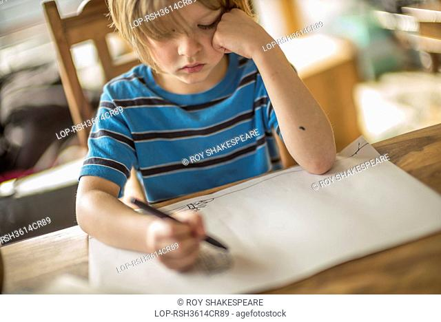 England, London, Hackney. Seven year old boy drawing at the table