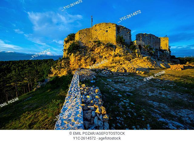 Fort atop Novigrad in Dalmatia Croatia in sunset light