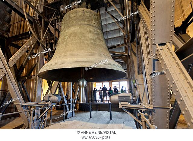 Saint Peter`s Bell in Dome Cologne, largest free-swinging bell in the world, weighing 24000kg and 322cm diameter