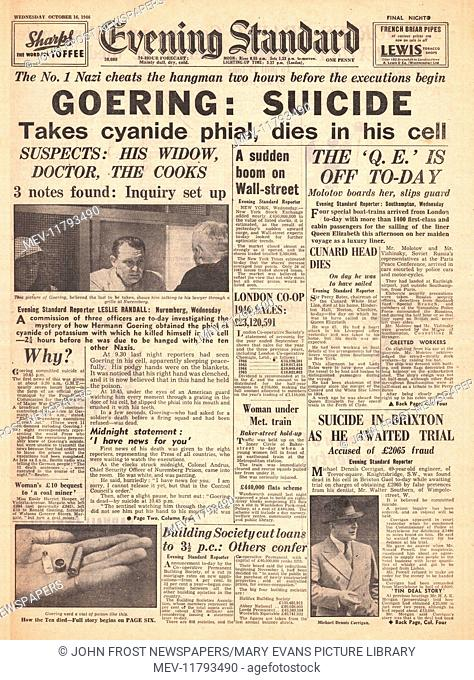 1946 Evening Standard front page 2nd Edition Herman Goering commits suicide