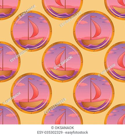 Seamless background, portholes with the ships floating on the sea