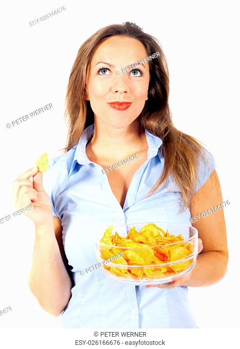 woman with potato chips