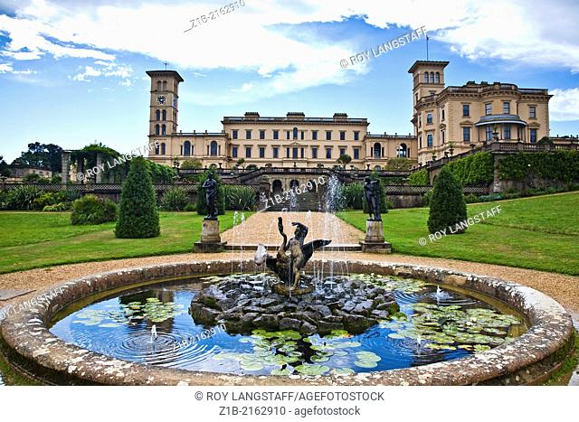Distant view of Osborne House with a fountain in the foreground