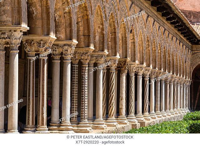 The Chiostro dei Benedettini, cloisters, in the cathedral complex at Monreale near Palermo, Sicily, Italy