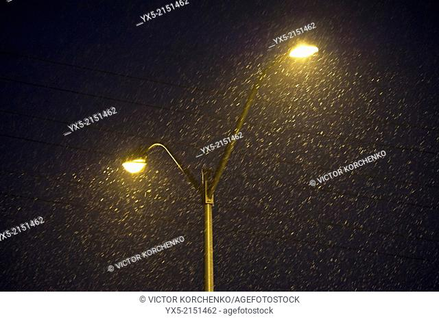Street lamps illuminate falling snow on a deserted street at night in Toronto suburbs