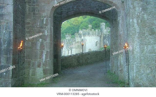 Male riding horse through castle arch with fire torches on the walls