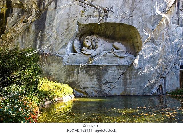Lion monument in rock Lucerne Switzerland Luzern