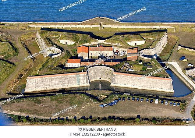 France, Charente Maritime, Ile de Re, Fort de la Pree rebuilt by Vauban in the South of La Flotte en Re aerial view