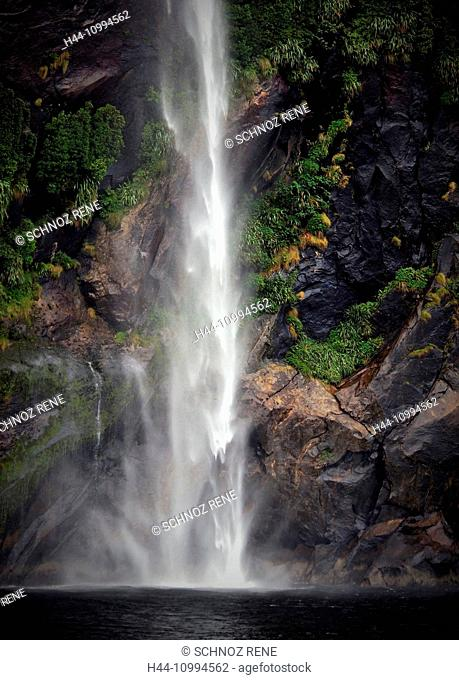 Waterfall, sea, New Zealand, Milford sound, foam, rock, cliff, cascade, water, tropical, rain forest