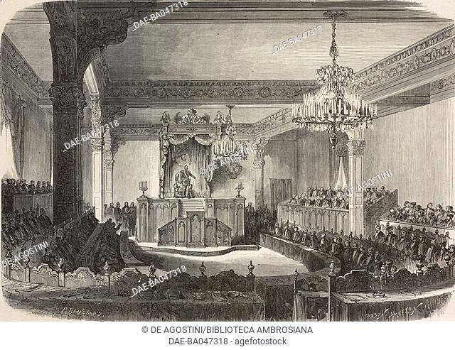 Opening of the Moldavian-Wallachian parliament, Romania, illustration by P Blanchard from L'Illustration, Journal Universel, No 1245, Volume XLIX, January 5