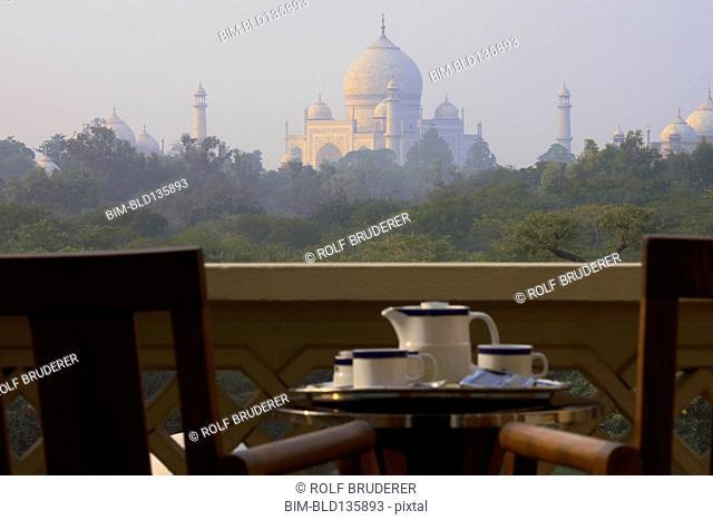 Balcony overlooking Taj Mahal, Agra, India