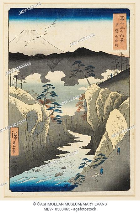 Kai Inume touge. Fuji from the ravine at Inume in Kai Province, Utagawa Hiroshige (1797 - 1858)
