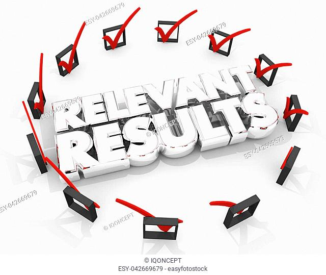 Relevant Results Check Boxes Search Success 3d Illustration