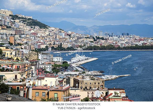 Top view of Bay of Naples and mount Vesuvius, Naples, southern Italy, Europe