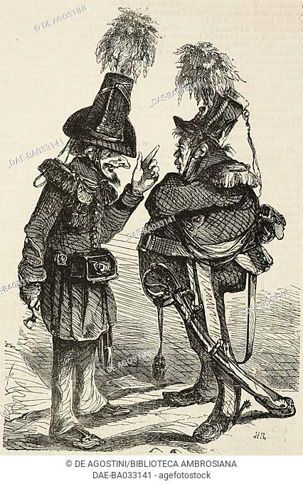 Two soldiers, caricature, the National Guard of the Grand Duke Gerolstein, Germany, illustration from L'Illustration, Journal Universel, No 137, Volume VI
