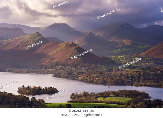Moody skies above Derwent Water and the Newlands Valley in autumn, Lake District National Park, Cumbria, England, United Kingdom, Europe