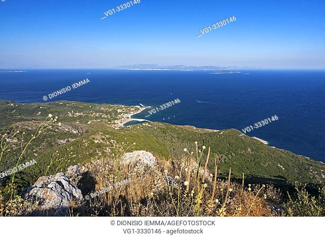 Othoni, Greece, Ionian Islands, Europe, Corfu district, Mount MEGALO MEROVIGLI (394m) below the village of Fanò in the background the island of Mathraki and...