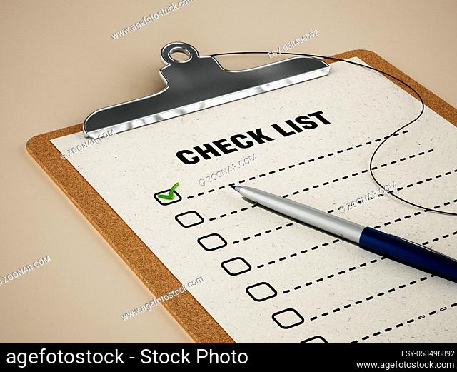 Check list standing on table
