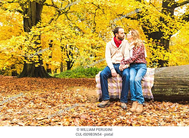 Mid adult couple, sitting on log, holding hands